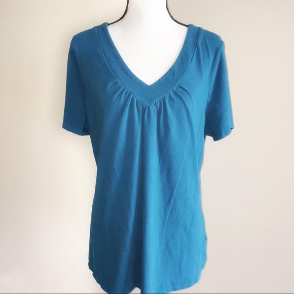 7777a02dfe5f28 Lane Bryant Tops - Lane Bryant Womens Teal V-Neck Short Sleeve Shirt